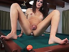 Nikki plays pool with her ass