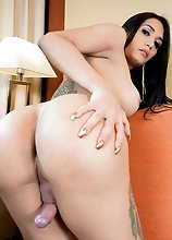 Watch busty Latina tgirl Valentina Mary posing, showing off her amazing ass and stroking her dick in this smashing solo scene!