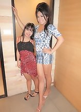 Ladyboy Kita - Treesome Bareback with a Tiny Thai Girl