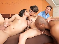 Watch this hardcore threesome cuckold scene with Mariana Pink!