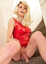 Joanna Jet - Shiny red dress and heels