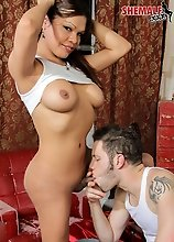 In this hot scene Carmen is hanging out with her beau Wolf who woos her with his guitar and blowjobs before she lets him fuck her sexy ass!