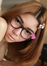 Skinny ladyboy in glasses shows off wild side in Bangkok hotel